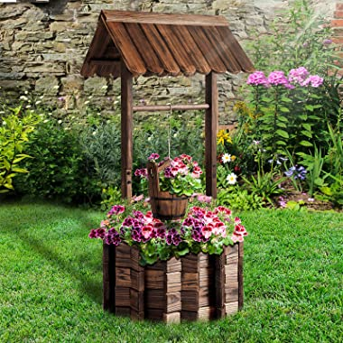 Aoxun Wooden Wishing Well Planter with Hanging Bucket for Flower and Plants Indoor and Outdoor, Rustic Flower Planter Patio G