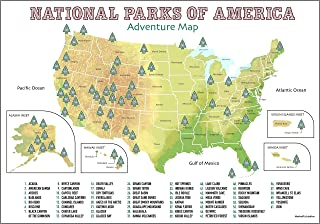 USA National Parks Scratch Off Poster | Only Up-To-Date Geographic Map With All 61 Scratchable National Parks | Poster Size A2 | Perfect Gift Includes States & Territories with Scratch Pick & Cloth |