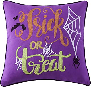Cassiel Home Halloween Decorations Throw Pillow Cover 18x18 with White Web Black Spider - Embroidery Pillow Cover Trick or Treat for Home Sofa Couch -Horrible Purple Pillow Case for Boys Girls
