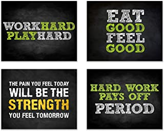 Summit Designs Gym Workout Motivational Quotes Wall Decor Art Prints - Set of 4 (8x10) Poster Photos - Bedroom - Man Cave
