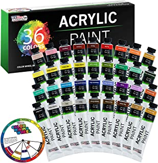 U.S. Art Supply Professional 36 Color Set of Acrylic Paint in Large 18ml Tubes - Rich Vivid Colors for Artists, Students, ...