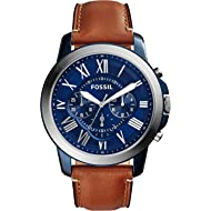 Fossil Men's Grant Quartz Stainless Steel and Leather Chronograph Watch Color: Blue, Brown...