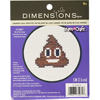 Dimensions Rainbow Poop Emoji Mini Counted Cross Stitch Kit for Beginners 11 Count White Aida 3 D