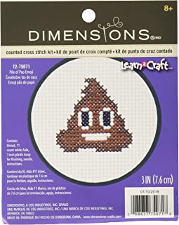 Dimensions Poop Emoji Mini Counted Cross Stitch Kit for Beginners, 11 Count White Aida, 3'' D