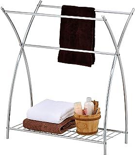 MyGift Freestanding 3 Bar Bathroom Chrome Towel Rack & Holder with Wire Shelf