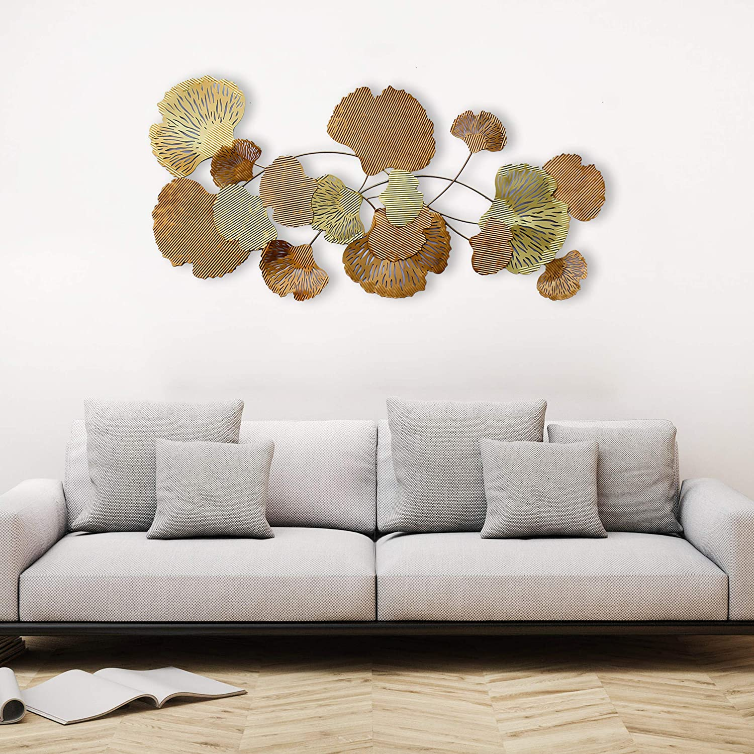 Decorlives Abstract Brass Color Leafs Wall Art H Indefinitely Metal Limited Special Price Sculpture