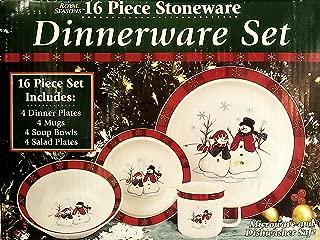Royal Seasons 16 Pc Stoneware Snowman Dinnerware Set