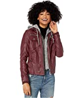 Faux Leather Jacket with Detachable Sweater Hood