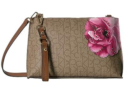 Calvin Klein Sonoma Floral Printed Crossbody (Khaki/Brown/Luggage Floral) Handbags