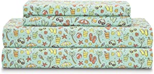 Elite Home Set of Soft Brushed Microfiber Coastal Printed Bed Sheets for Master or Guest Bedrooms, 90 GSM, Queen, Summertime Fun Aqua