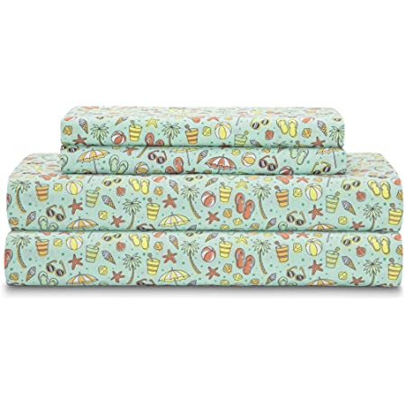 Flip Flop Sheet Set with Decorative Beach Themed Print