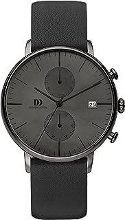 Danish Design IQ16Q975 Stainless Steel Case Black Leather Band Dark Gray Dial Chronograph Men's Watch