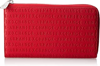 A|X Armani Exchange Round Zip Wallet, Rosso-Red 251