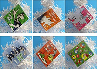 Dr Seuss Mini Notebook Ornaments Featuring 6 Random Dr Seuss Mini Notebook Ornaments, Ornaments Measure 3 Inches Tall By 2 1/2 Inches Wide and 1/4 Inch Thick, Each Book Contains Over 30 Blank Pages - Great for Recording Christmas Memories