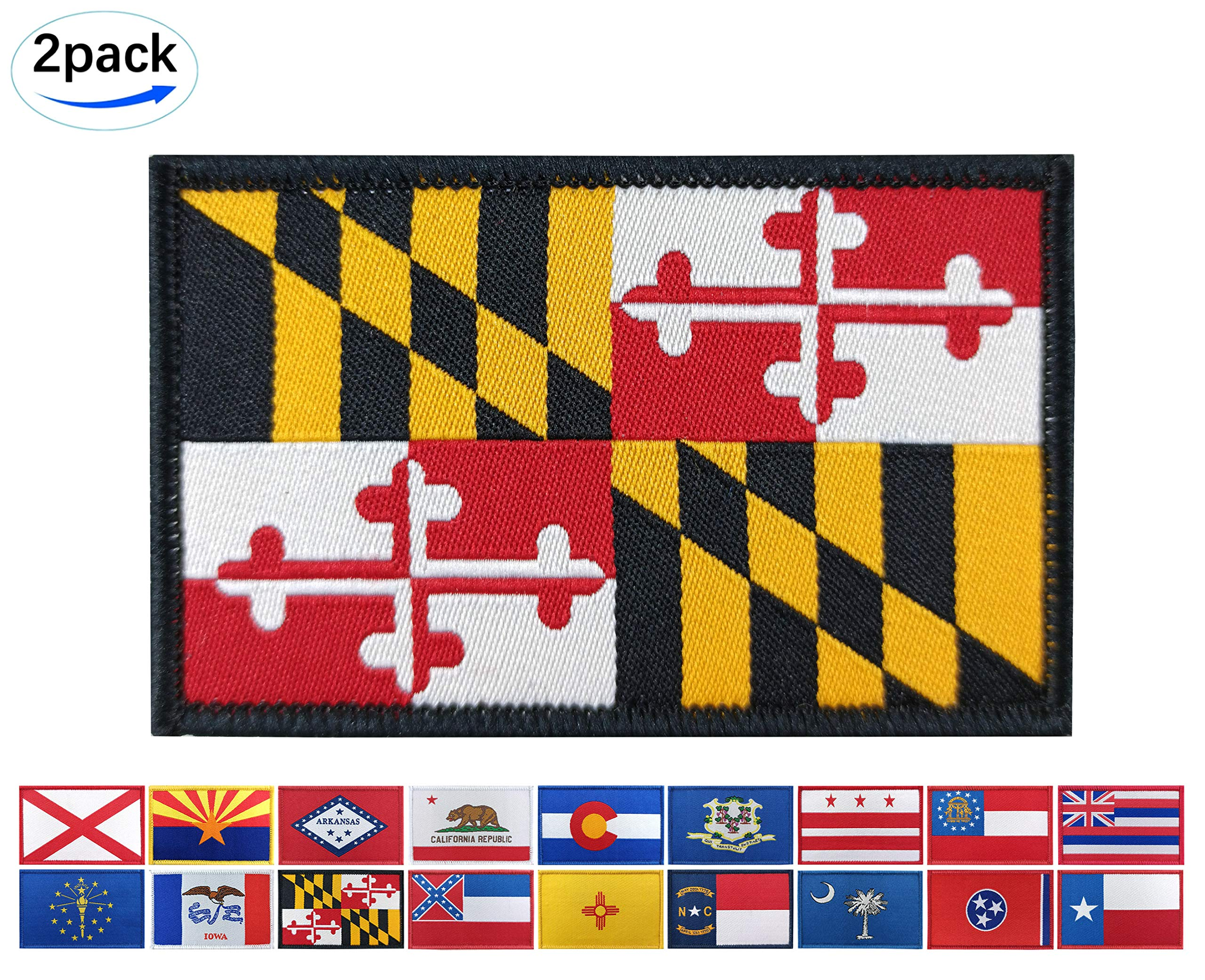 JBCD 2 Pack Maryland Flag Patch States Flags Tactical Patch Pride Flag Patch for Clothes Hat Patch Team Military Patch