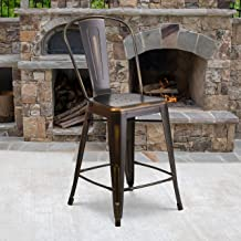 """Flash Furniture Commercial Grade 4 Pack 24"""" High Distressed Copper Metal Indoor-Outdoor Counter Height Stool with Back"""