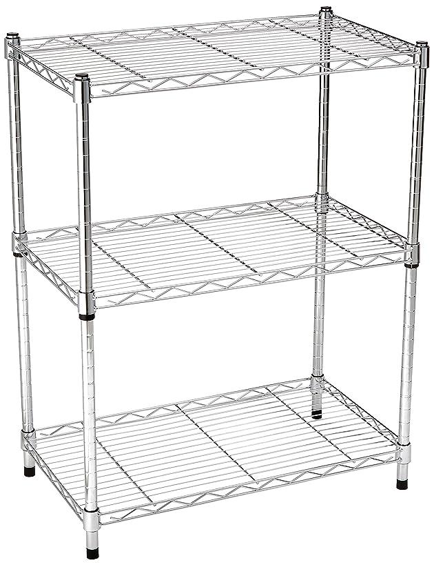 AmazonBasics 3-Shelf Shelving Storage Unit, Metal Organizer Wire Rack, Chrome Silver