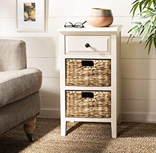 Safavieh Home Collection Everly Drawer Vintage White 1-Drawer 2 Removable Baskets Side Table