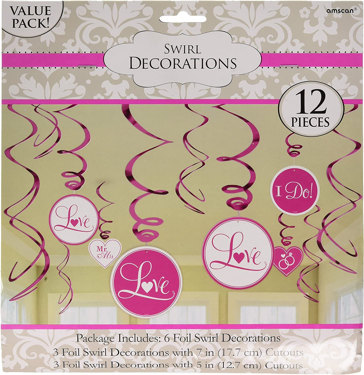 Amscan Inspirational Wedding Decorationsfoil Swirl Value Kit Party Supplies , Bright Pink, 144 Pieces