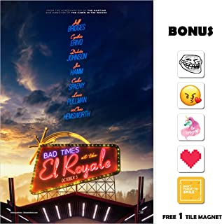 Bad Times at the El Royale Movie Poster 13 in x 19 in Poster Flyer Borderless + Bonus 1 Free Tile Magnet