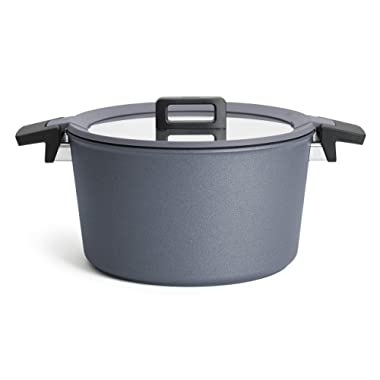 Woll Concept Plus Diamond Reinforced Nonstick 9 1/2  Stockpot with Silicone Insert & Lid, 5.25 quart, Gray