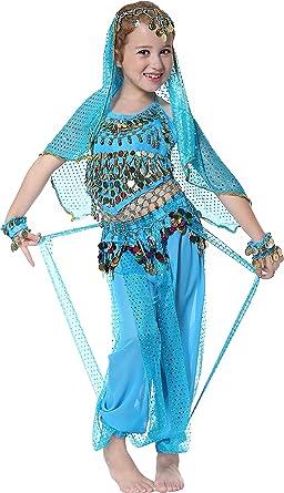 Seawhisper Girls Belly Dancer Costume Halloween Outfit for Kids