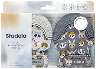 Stadela Baby Soothing Teething Mittens, Food Grade Silicone Teether Toy with Travel Bag, Unisex for Boy or Girl, Baby...