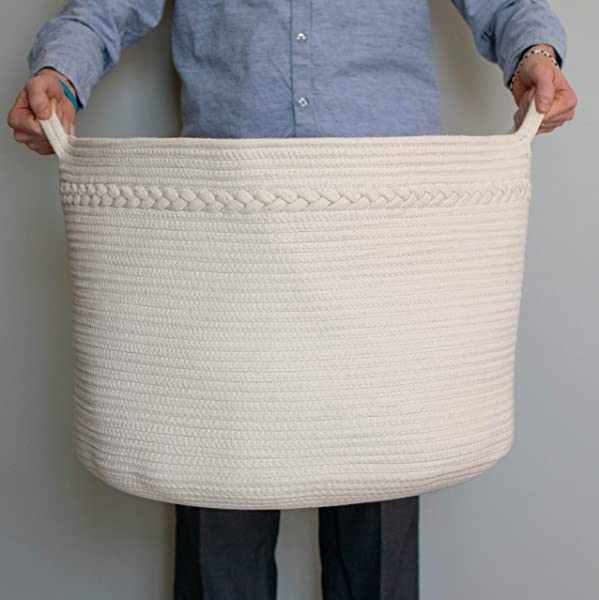 Relodecor XXL 棉绳篮子 22X14 编织洗衣篮毯子篮子和玩具收纳篮