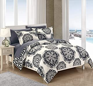 Chic Home DS4033-WT 3 Piece Ibiza Super Soft Microfiber Large Medallion Reversible with Geometric Printed Backing King Duvet Cover Set Black