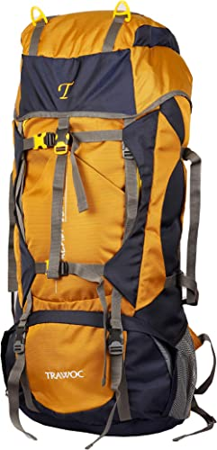 TRAWOC 60L Travel Backpack for Outdoor Sport Camp Hiking Trekking Bag Camping Rucksack HK006 (Yellow) 1 Year Warranty