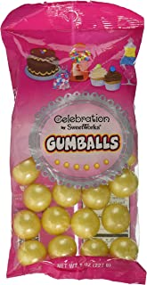 Sweetworks Celebration Candy Gumballs Bag, 8 oz, Shimmer Yellow
