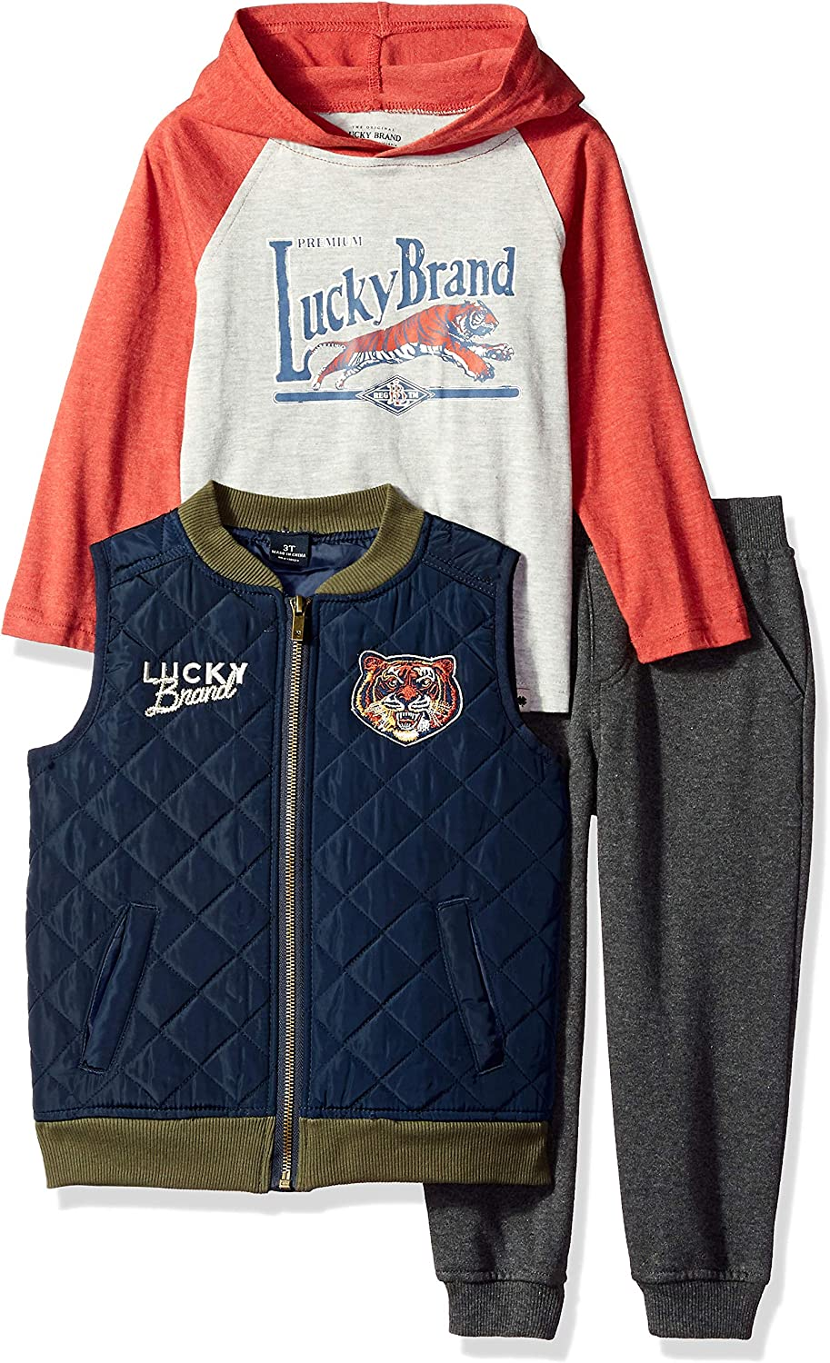 Lucky Brand Baby Boys 3 Pieces Vest Set, Navy/Charcoal/red, 12M