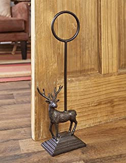 The Lakeside Collection Heavy Cast Iron Door Stop with Carrying Handle - Woodland Deer