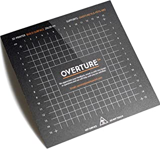 OVERTURE 3D Build Surface 200mm x 200mm (7.88'' x 7.88'') Upgraded 3D Printer Build Plate Sheet Heat Bed Platform Sticker with Laminated Transfer Adhesive, 10mm Grid, Black (1 Pack)