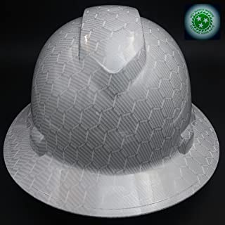 Wet Works Imaging Customized Pyramex Full Brim White Carbon Fiber HEX Hard Hat with Ratcheting Suspension