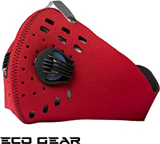 Anti Pollution Extra Large Face Mask Eco Gear with Military Grade N95 Protection | Anti Smoke, Exhaust Gas, Dust, Pollen, Allergens | Hiking, Running, Walking, Cycling, Ski (Pure Red)