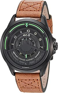 Men's AV-4047 'Pegasus Edition' Japanese Automatic Stainless Steel Sapphire Lens and Leather Aviator Watch