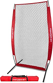 PowerNet I-Screen with Frame and Carry Bag | Portable Baseball Pitcher Protection | Instant Player and Coach Protector from Line Drives Grounders | Heavy Duty Knottless Netting | Batting Practice