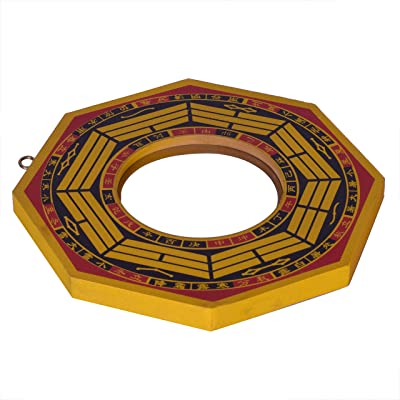 Vyne Yellow Bagua Pakua Convex Mirror Deflect Negative Energy & Protection 6 Inches