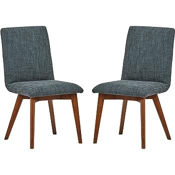 Marque Amazon Rivet Ricky Lot de 2 chaises de salle à manger, style vintage, hauteur 94 cm, Bleu marine