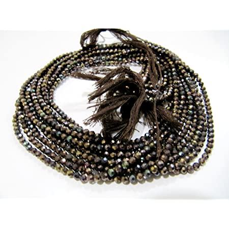 3mm-3.5mm 13 Inches Gemstone Rondelles TR095 5 Strands Black Spinel Blue Coated Beads,Faceted Center Drill Rondelles