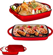 2 in 1 Enameled Cast Iron 11 Inch Square Casserole Baking Pan With Griddle Lid 2 in 1 Multi Baker Dish, Fire Red