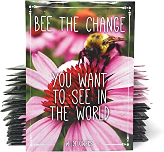 Bee The Change You Want to See in The World - Pollinator Wildflower Mix Seed Packets - Already Filled - Pack of 20