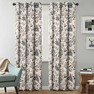 Blackout Curtains for Bedroom Thermal Insulated Floral Rustic Printed Curtain Drapes for Living Room Energy Efficient Room...