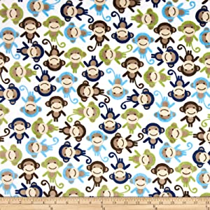 Robert Kaufman Shannon Kaufman Minky Cuddle Monkey Midnight Fabric By The Yard