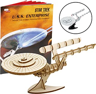 Star Trek Original U.S.S. Enterprise Book and 3D Wood Model Figure Kit - Build, Paint and Collect Your Own Wooden Toy Model - Great for Kids and Adults,10+ - 7.5