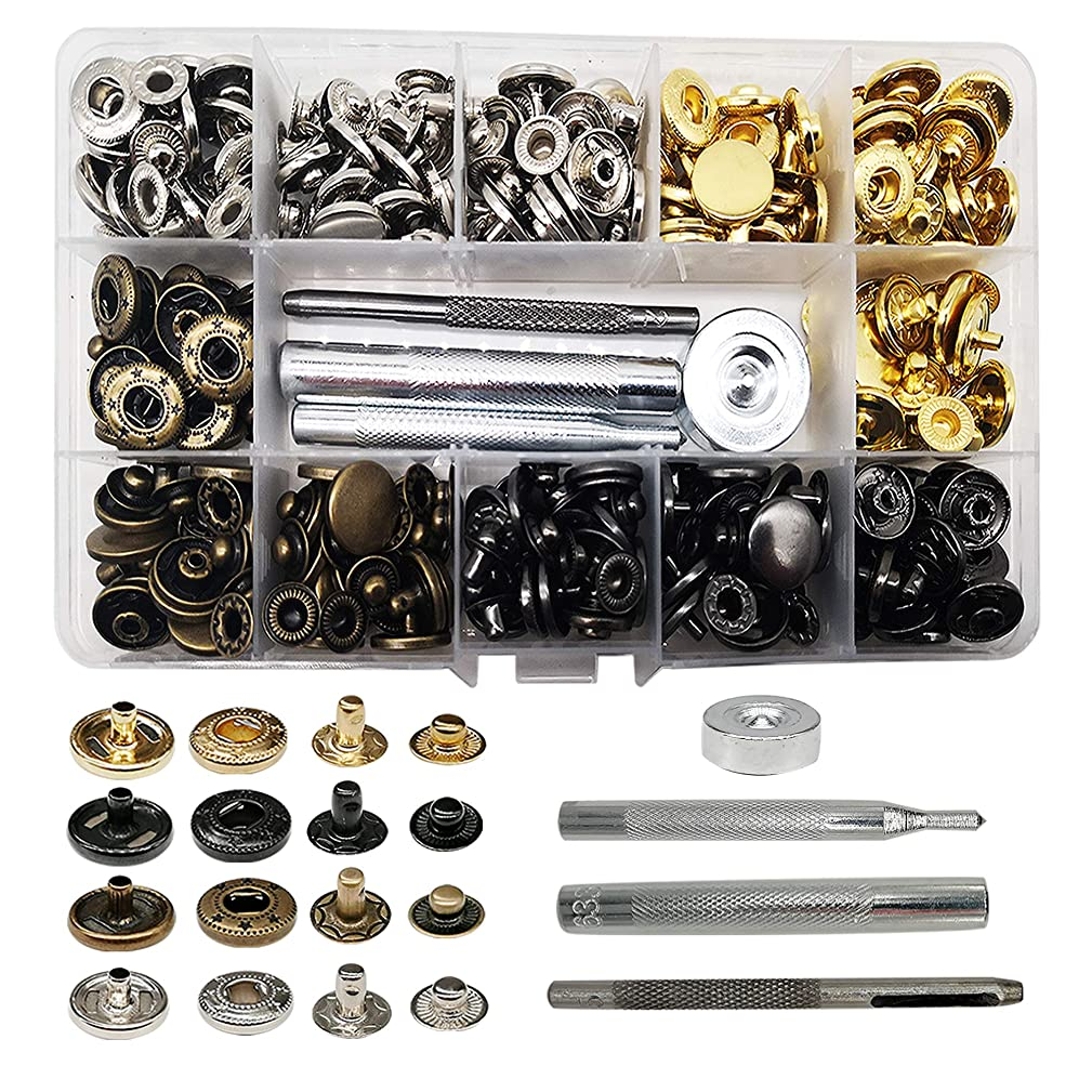 Fuman Forest 80 Sets Snap Fasteners Kit, 15mm Metal Snap Buttons Press Studs with 4 Pieces Fixing Tools, 4 Color Clothing Snaps Kit for Clothing Leather, Jacket, Jeans Wear, Bracelet, Bags