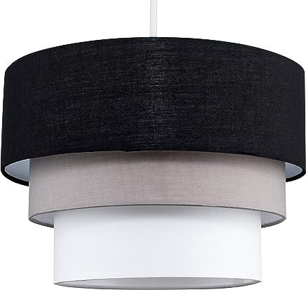Beautiful Round Modern 3 Tier Black, Grey And White Fabric Ceiling Designer Pendant Lamp Light Shade