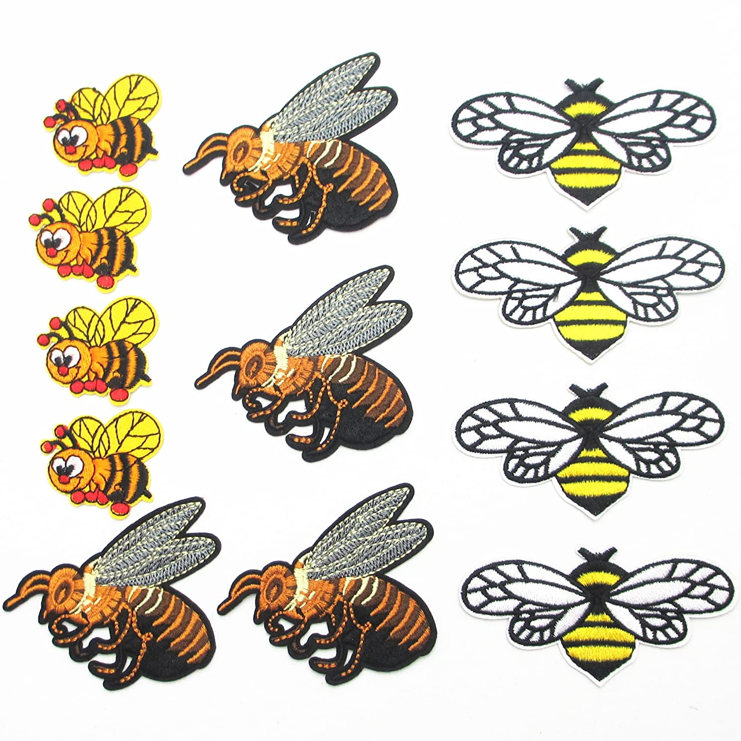 Dandan DIY 12pcs Assorted Embroidered Bees Patch Sew On/Iron On Patch Animal Applique Clothes Dress Plant Hat Jeans Sewing Applique Home Curtain Diy Accessory
