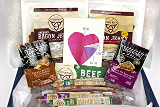 Mission Meats Mom's Gift Box Bacon Jerky Turkey Sticks Beef Sticks Pork Sticks Gluten MSG Nitrate & Nitrite Free Paleo Keto Snacks Healthy Natural Meat Sticks Mother's Day Anniversary Birthday